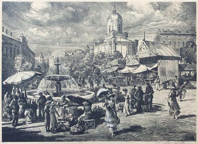 Piata Sfantul Anton gravura final secol 20 Scheletti.