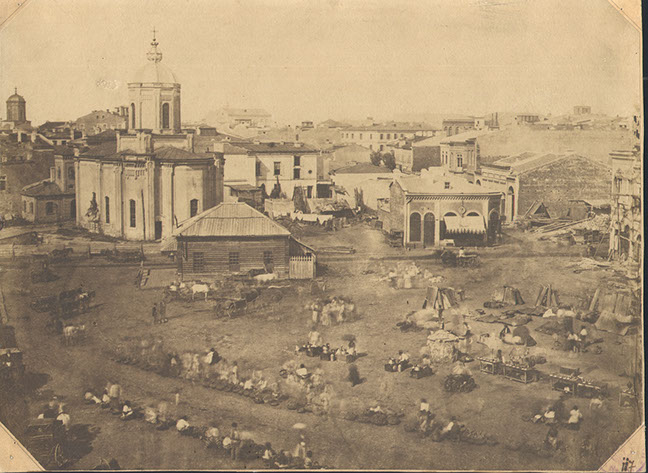 Piata Sfantul Anton in 1880, Bucuresti. Saint Anton square in 1880, Bucharest.