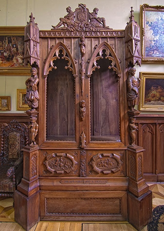 Dulap lemn gotic neogotic Theodor Aman secol 19.