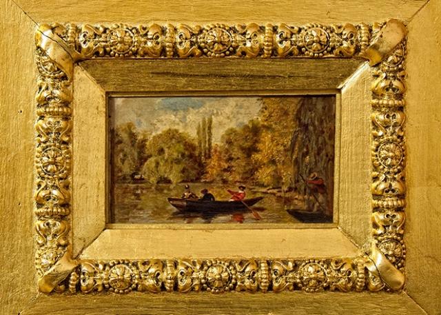 Pictura barca pe lac Aman secol 19.