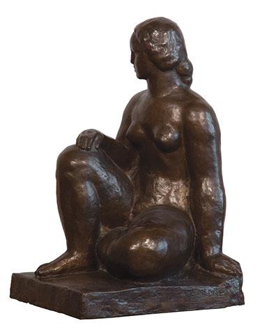 Nud sezand statuie bronz Medrea.